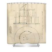 Lighthouse Lantern Drawing Shower Curtain