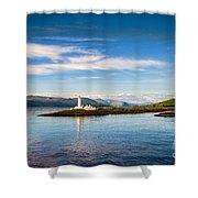 Lighthouse Near Oban In Scotland Shower Curtain
