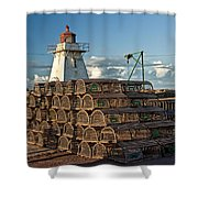 Lighthouse On A Channel By Cascumpec Bay On Prince Edward Island No. 094 Shower Curtain