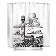 Lighthouse On A Cliff Pointillist Shower Curtain