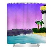 Lighthouse On Beach Shower Curtain