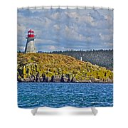 Lighthouse On Brier Island In Digby Neck-ns Shower Curtain