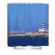Lighthouse On Isla De Es Penjats Shower Curtain