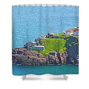 Lighthouse On Point In Signal Hill National Historic Site In Saint John's-nl Shower Curtain