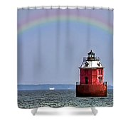 Lighthouse On The Bay Shower Curtain