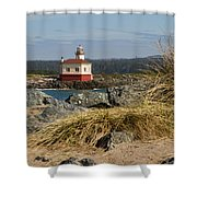 Lighthouse Over The Dunes Shower Curtain