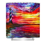 Lighthouse - Palette Knife Oil Painting On Canvas By Leonid Afremov Shower Curtain