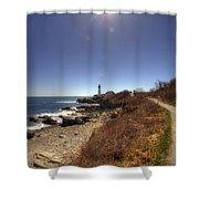 Lighthouse Path Shower Curtain by Joann Vitali
