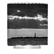 Lighthouse Sun Rays Bw Shower Curtain