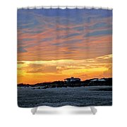Lighthouse Sunset By Jan Marvin Shower Curtain