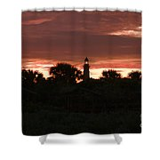 Lighthouse Sunset Shower Curtain