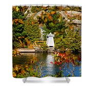 Lighthouse Through The Leaves Shower Curtain