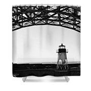 Lighthouse Under Golden Gate Shower Curtain