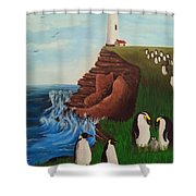 Lighthouse With Penguins Shower Curtain