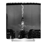 Lightning Hits Empire State Shower Curtain