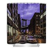 Lightning Over Manhattan Bridge Shower Curtain