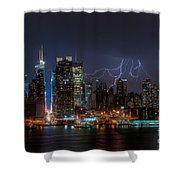 Lightning Over New York City IIi Shower Curtain by Clarence Holmes