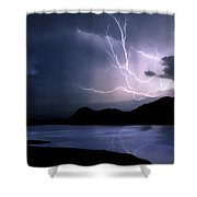 Lightning Over Quartz Mountains - Oklahoma Shower Curtain
