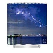 Lightning Over Safety Harbor Pier Shower Curtain