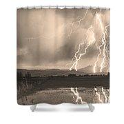 Lightning Striking Longs Peak Foothills Sepia 4 Shower Curtain