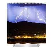 Lightning Striking Over Ibm Boulder Co 3 Shower Curtain