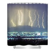 Lightning Striking Over Phoenix Arizona Shower Curtain