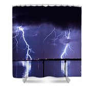 Lightning Over Tampa Causeway Shower Curtain