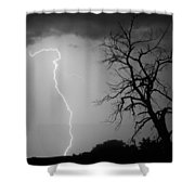 Lightning Tree Silhouette Black And White Shower Curtain