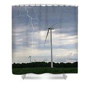 Lightning Turbine Shower Curtain
