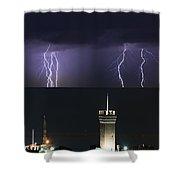 lightnings over Genova Shower Curtain