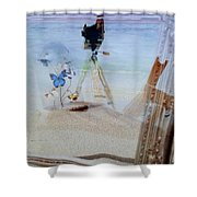 Lights Butterflies Sand And Surf Shower Curtain