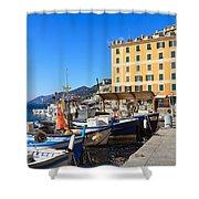 Liguria - Harbor In Camogli Shower Curtain