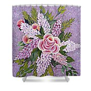 Lilac And Rose Bouquet Shower Curtain