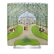 Lilac Arbour Oil On Board Shower Curtain