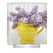 Lilac Boquet - Yellow Vase Shower Curtain