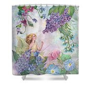 Lilac Enchanting Flower Fairy Shower Curtain