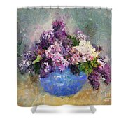 Lilac In Blue Vase Shower Curtain