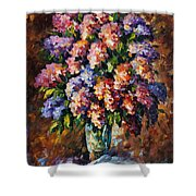 Lilac - Palette Knife Oil Painting On Canvas By Leonid Afremov Shower Curtain