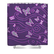 Lilac Silhouette Of Woman With Butterflies Shower Curtain