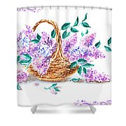 Lilac Vintage Impressionism Painting Shower Curtain
