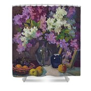 Lilacs And Blue Vase Shower Curtain