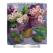 Lilacs And Pears Shower Curtain