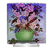 Lilacs And Queen Anne's Lace In Pink And Purple Shower Curtain