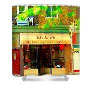 Lili And Oli Latte Espresso Cappucino Coffee Shop Rue Notre Dame St Henri City Scene Carole Spandau Shower Curtain