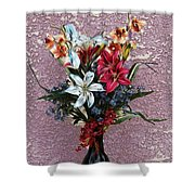 Lilies And Orchids Digitized Purple Shower Curtain