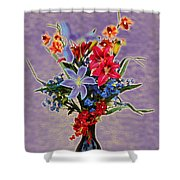 Lilies And Orchids Topaz II Shower Curtain