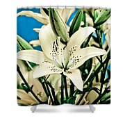Lilies In White Shower Curtain