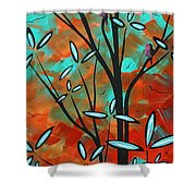 Lilly Pulitzer Inspired Abstract Art Colorful Original Painting Spring Blossoms By Madart Shower Curtain
