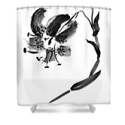 Lily In Black Shower Curtain