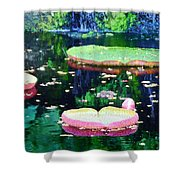 Lily Leaves Painterly  Shower Curtain